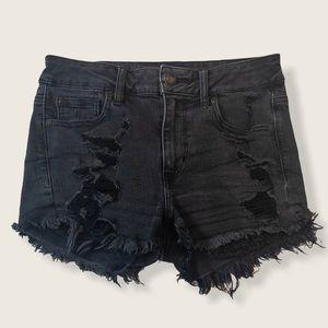 American Eagle Black Distressed Hi Rise Shortie -4